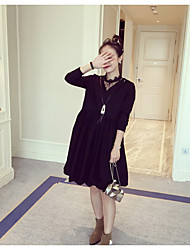 Women's Going out Casual/Daily Simple Loose Dress,Solid Embroidered V Neck Knee-length Long Sleeve Cotton Bamboo Fiber Spring SummerHigh