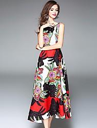 Damen Lose Swing Kleid-Lässig/Alltäglich Einfach Blumen Rundhalsausschnitt Maxi Ärmellos Seide Frühling Sommer Mittlere Hüfthöhe