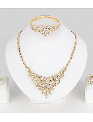 Set de Bijoux Bracelets Rigides Collier court /Ras-du-cou Cristal Géométrique Strass Alliage Forme de Feuille Or1 Collier 1 Paire de