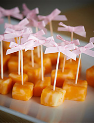 10Pcs/Set   Lovely Small Ribbon Bow Cupcake Topper Baby Shower Birthday Party Cake Topper Wedding Party Cake DIY Decoration