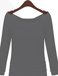 Tee-shirt Femme,Couleur Pleine Décontracté / Quotidien simple Printemps Manches Longues Epaules Dénudées Coton Opaque