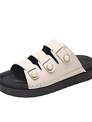 Women's Flats Summer Creepers PU Dress Casual Walking Flat Heel Imitation Pearl Beige Black