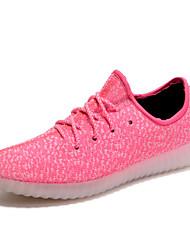 Feminino Tênis Solados com Luzes Tênis com LED par sapatos Tule Primavera Verão Atlético Casual Caminhada Cadarço Rasteiro Rosa claro