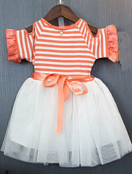 Girl's Casual/Daily Striped Dress,Cotton Polyester Summer Short Sleeve