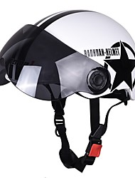 Motorcycle Helmet Half Open Face Adjustable Size Protection Gear Head Helmets Unisex Five-pointed Star White Newest
