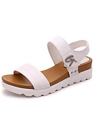 Women's Sandals Spring Summer Club Shoes Novelty PU Outdoor Office & Career Casual Low Heel Wedge Heel Applique Buckle Black White Walking