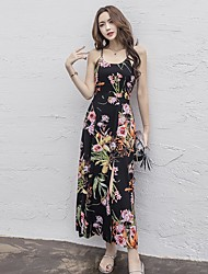 Women's Beach Boho T Shirt Dress,Floral V Neck Maxi Sleeveless Cotton Spring Summer Low Rise Micro-elastic Thin