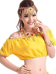 Devemos nós dança de barriga tops feminino desempenho chiffon lantejoulas 1 peça de manga curta tops