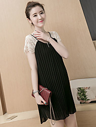 Maternity Summer Wear Fashionable Sweet  Fashion lace hollow-out pleated chiffon lace  Leisure Pregnant Women Dress