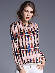 Women's Work Simple Blouse,Print Crew Neck Long Sleeve Polyester