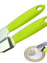 1Pcs  High Quality Green Abs Handle With Stainless Steel Garlic Press Garlic Clip Kitchen Tools