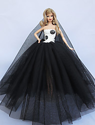 Evening Party Dress in White and Black For Barbie Doll For Girl's Doll Toy