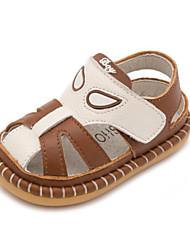 Kids' Baby Sandals First Walkers Cowhide Summer Casual First Walkers Flat Heel Black Yellow Brown Ruby Flat
