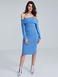Women's Off The Shoulder Solid Fashion Slim Packet Hip Dress,Sexy/Bodycon Bateau Long Sleeve
