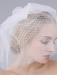 Véus de Noiva Duas Camadas Véu Ruge Corte da borda Tule Rede