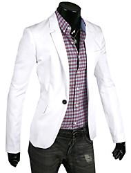 Blazer Hommes,Couleur Pleine Décontracté / Quotidien Grandes Tailles Manches Longues Coton