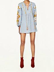 Feminino Solto Camisa Vestido,Para Noite Casual Simples Moda de Rua Sólido Floral Colarinho Chinês Acima do Joelho Manga LongaSeda
