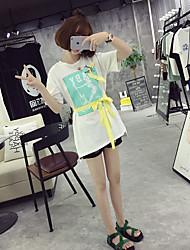 Damen Solide Einfach Ausgehen T-shirt,Rundhalsausschnitt Kurzarm Baumwolle