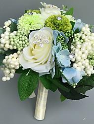 Fleurs de mariage Rond Roses Bouquets Cérémonie de mariage Satin Strass Env.28cm