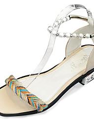 Women's Sandals Summer Comfort PU Outdoor Low Heel Gray White