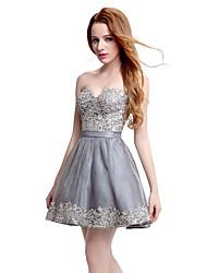 Vestido de festa de cocktail a-line querida curto / mini tule de renda com padrão / impressão