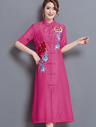 Mujer Línea A Vestido Noche Simple,Bordado Escote Chino Midi Manga Corta Algodón Poliéster Verano Tiro Medio Rígido Medio