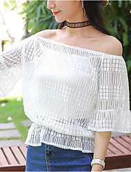 Women's Off Shoulder Casual/Daily Sexy Cute Spring Summer Blouse,Solid Print Boat Neck Short Sleeve Polyester Sheer