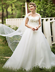 Ball Gown Off-the-shoulder Floor Length Lace Tulle Wedding Dress with Crystal Beading Appliques Flower by HUA XI REN JIAO