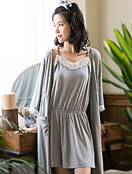 Vêtements de nuit 2pcs pour femme, doux, style, trois quarts, vêtements de nuit