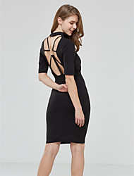 Women's Cut Out|Backless Casual/Daily / Club Sexy / Street chic Backless Bodycon DressSolid Crew Neck Midi Long Sleeve Spring / FallMid