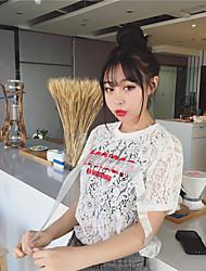 Damen Druck Sexy Einfach Ausgehen Strand T-shirt,Rundhalsausschnitt Sommer Kurzarm Baumwolle Undurchsichtig