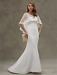 Mermaid / Trumpet Scoop Neck Sweep / Brush Train Chiffon Tulle Wedding Dress with Tiered by HUA XI REN JIAO