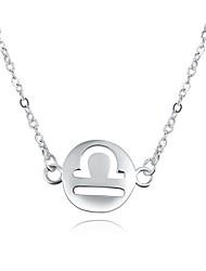 Femme Pendentif de collier Colliers chaînes Bijoux Forme de Cercle Cuivre Plaqué argent AlliageBasique Circulaire Original Pendant Animal