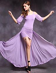 Dança do Ventre Roupa Mulheres Actuação Modal Frente Dividida 2 Peças Meia manga Natural Saia Vestido