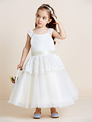 A-line Tea-length Flower Girl Dress - Lace Tulle Straps with Draping Lace Sash / Ribbon