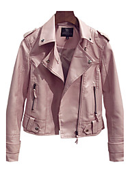 Women's Casual/Daily Vintage Fall Leather Jacket,Solid Round Neck Long Sleeve Short Polyester