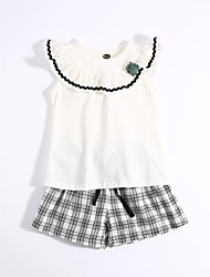Girls' Casual/Daily Solid Check Sets,Cotton Summer Clothing Set