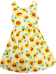 Girl Fashion Dress White Sunflower Print Dresses Party Pageant Princess Children Clothes