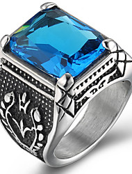 Men's Ring Statement Rings Acrylic Euramerican Fashion Punk Hip-Hop Personalized Rock Titanium Steel Square Blue Red Purple Jewelry For Gift