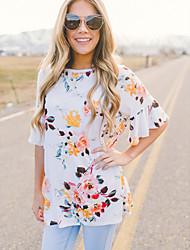 Damen Solide Blumen Einfach Strand T-shirt,Rundhalsausschnitt ½ Länge Ärmel Baumwolle