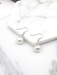 Stud Earrings Imitation Pearl Euramerican Fashion Alloy Round White Jewelry For Daily 1 Pair