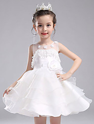 A-line Short / Mini Flower Girl Dress - Cotton Organza Satin Jewel with Bow(s) Flower(s) Pearl Detailing Sash / Ribbon