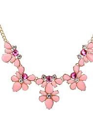 Жен. Заявление ожерелья В форме цветка Хрусталь Уникальный дизайн Белый Цвет радуги Розовый Светло-синий Светло-Зеленый Бижутерия ДляДля