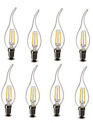 2W E14 Luces LED en Vela CA35 2 COB 200 lm Blanco Cálido Decorativa AC 100-240 V 8 piezas