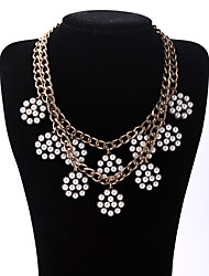 Women's Pendant Necklaces Flower Chrome Unique Design Fashion White Jewelry For Birthday Thank You Daily 1pc