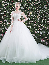 Princess Jewel Cathedral Train Lace Tulle Wedding Dress with Beading Sequin