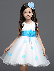 Ball Gown Short / Mini Flower Girl Dress - Cotton Satin Tulle Jewel with Bow(s) Crystal Detailing Flower(s) Sash / Ribbon
