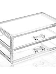 Complejo de acrílico combinado de gran capacidad de doble cuadrado de doble capa de maquillaje cosméticos almacenamiento cajón organizador