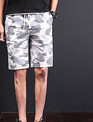 Homme simple Taille Normale Micro-élastique Short Pantalon,Ample Camouflage