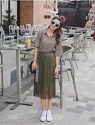 Для женщин На выход На каждый день Лето Рубашка Платья Костюмыпросто Уличный стиль Шахматка 1/2 Length Sleeve Неэластичный